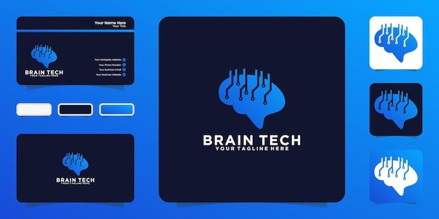 Inspiração do design do logotipo do chip de tecnologia do cérebro e cartão de visita