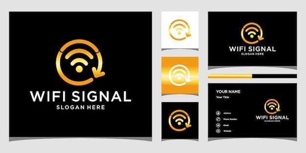 Inspiração do design do logotipo do sinal wifi. logo design e cartão de visita premium