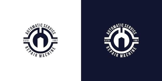 Inspiração do design do logotipo. equipamento mecânico vintage