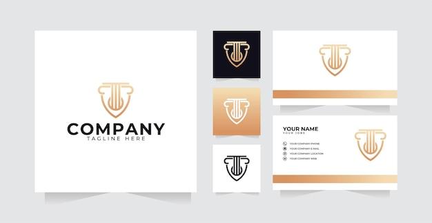 Inspiração do design do logotipo legal com design luxuoso do logotipo do pilar e cartão de visita