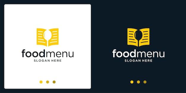 Inspiração do livro da lista de alimentos e logotipo da colher. vetor premium.