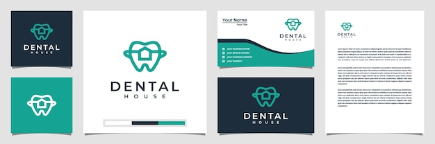 Inspiração do logotipo criativo da casa dentária. com cartão de visita de logotipo de estilo de linha de arte e papel timbrado
