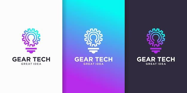 Inspiração do logotipo da ideia de tecnologia de engrenagem, tecnologia inteligente