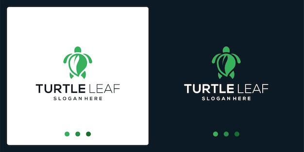 Inspiração do logotipo da tartaruga e logotipo da folha. vetor premium.