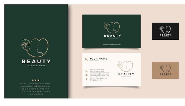 Inspiração do logotipo de mulheres de beleza com cartão de visita para cuidados com a pele, salões de beleza e spas, com combinação de folhas