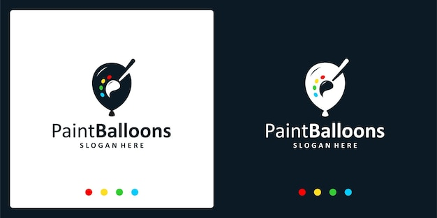 Inspiração do logotipo do balão e logotipo da pintura. vetores premium.
