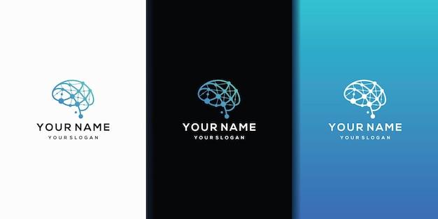 Inspiração do logotipo do brain design com linhas de conectividade