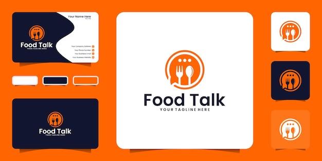 Inspiração do logotipo do chat de comida, pedidos de comida e inspiração de cartão de visita