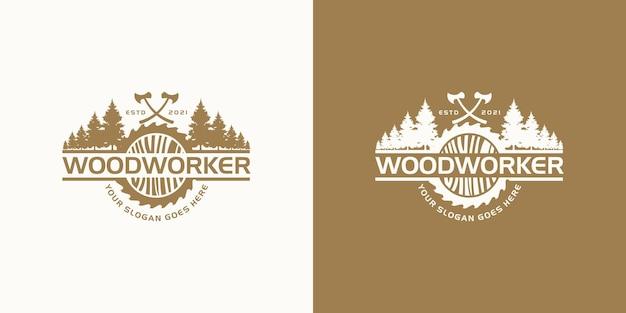 Inspiração do logotipo do marceneiro vintage.