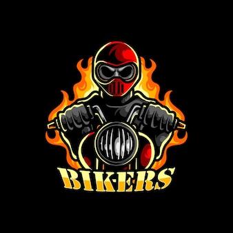 Inspiração do logotipo do mascote do emblema do motociclista