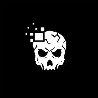 Inspiração do logotipo do projeto do crânio e logotipo digital da tecnologia.