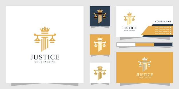 Inspiração do logotipo do rei do escritório de advocacia e cartão de visita