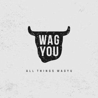 Inspiração do logotipo do restaurante wagyou moderno e simples