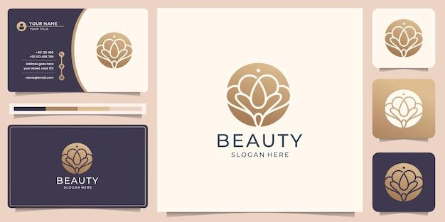 Inspiração do logotipo do salão feminino liso abstrato da beleza. modelo de design de logotipo e cartão de visita.