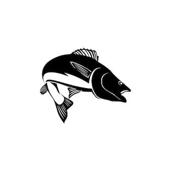 Inspiração do logotipo do salto da silhueta do peixe
