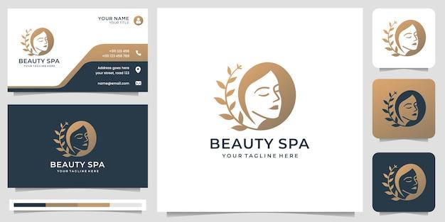 Inspiração do logotipo do spa de beleza. logotipo de salão feminino, lindo rosto com folha estilizada, logotipo de mulher