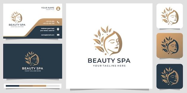 Inspiração do logotipo do spa de beleza. logotipo do salão feminino, lindo rosto com folha estilizada e cartão de visita.