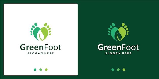 Inspiração do logotipo dos pés do bebê e logotipo da folha. vetor premium.