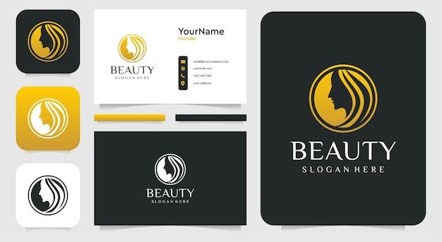 Inspiração do logotipo feminino da mulher bonita e cartão de visita