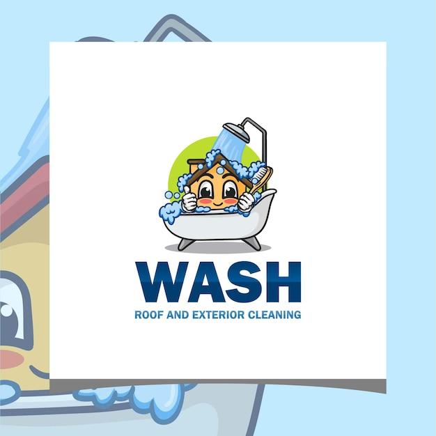 Inspiração do logotipo lavagem de telhado e limpeza superior