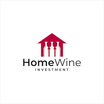 Inspiração do logotipo que combina a forma de uma casa com a forma de um investimento e o logotipo de uma garrafa de vinho