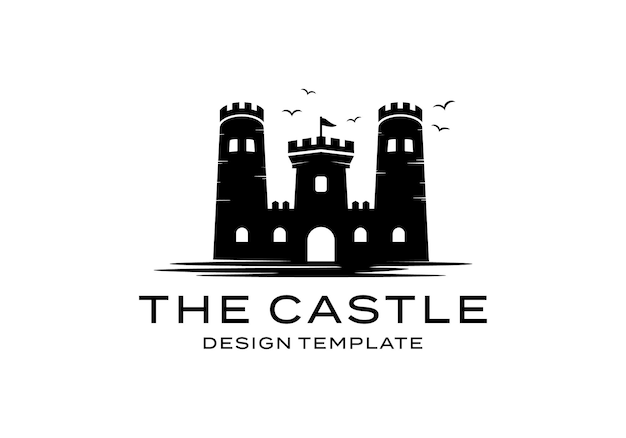 Inspiração do modelo de design da ilustração do logotipo do castelo silhueta