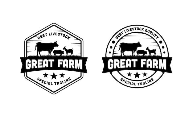Inspiração do modelo de design de ilustração de logotipo de gado vintage
