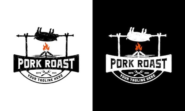 Inspiração do modelo de design de ilustração de logotipo de porco assado