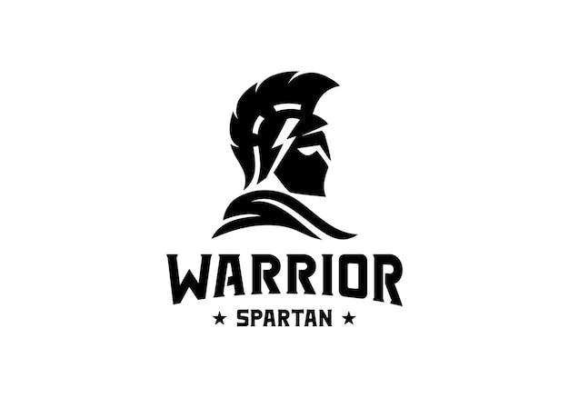 Inspiração do modelo de design de logotipo de capacete espartano guerreiro