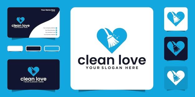 Inspiração e cartão de visita do design de logotipo de amor limpo