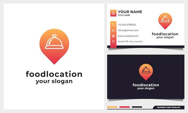 Inspiração e cartão de visita do design de logotipo de localização de alimentos, logotipo de restaurante com ícone de pino combinado com um conceito de cloche