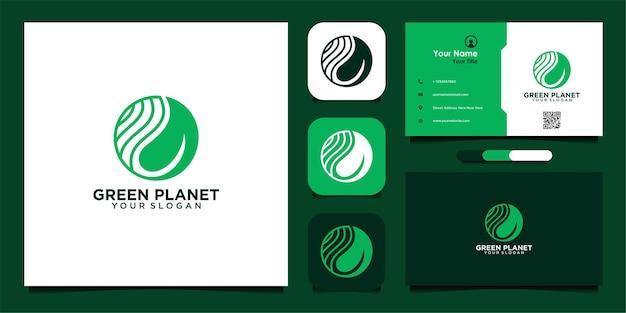 Inspiração e cartão de visita do design de logotipo do planeta verde