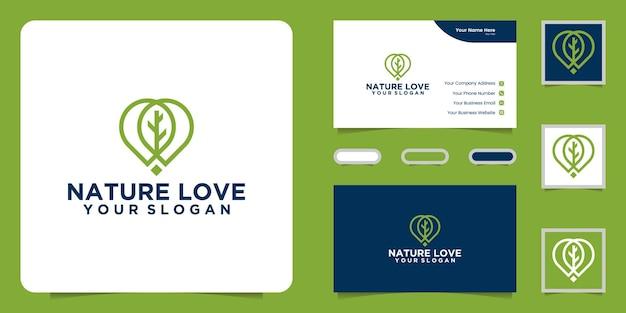 Inspiração e cartão de visita do logotipo do amor da natureza