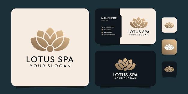 Inspiração em vetor spa com logotipo de ouro da lotus