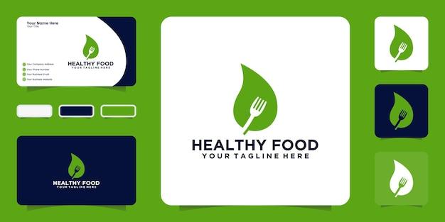 Inspiração, folha e garfo de design de logotipo de comida saudável com cartão de visita