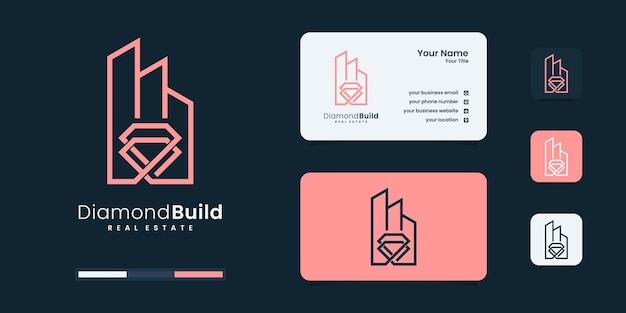 Inspiração minimalista de design de logotipo de construção de diamante.