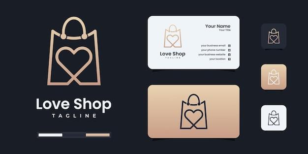 Inspiração minimalista do design do logotipo da loja de amor. o logotipo do coração seja usado para o seu negócio.