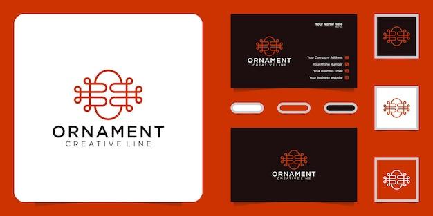 Inspiração minimalista do design do logotipo do ornamento e cartões de visita