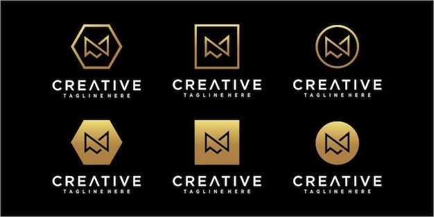 Inspiração minimalista no design do logotipo da letra m inicial
