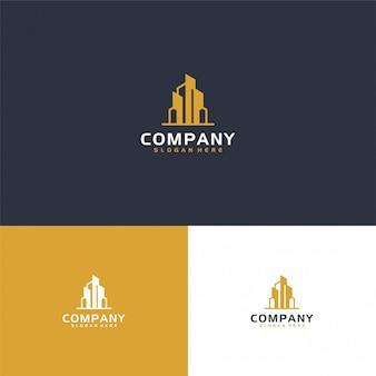 Inspiração moderna logotipo imobiliário na cor ouro