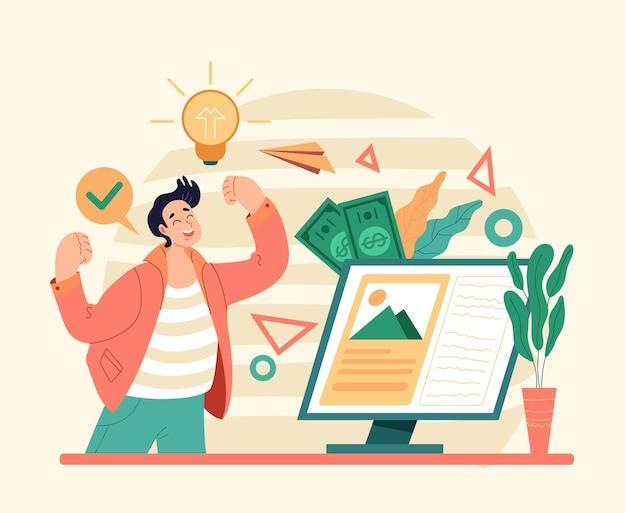 Inspiração na internet para um bom negócio, comece com uma ideia nova, investimento flat
