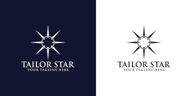 Inspiração no design de logotipo de alfaiate com agulhas de costura girando para formar uma estrela