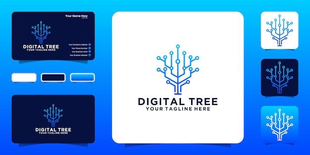 Inspiração no design de logotipo de árvore digital com linhas interconectadas e inspiração de cartão de visita