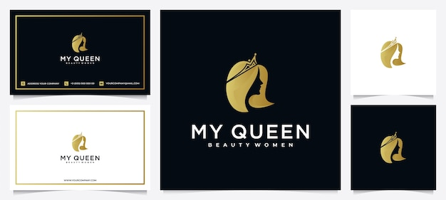 Inspiração no design de logotipo de mulheres da beleza com cartão de visita para cuidados com a pele, salões e spas, com combinação de coroa