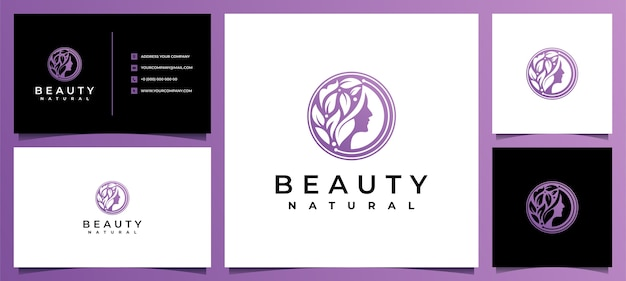 Inspiração no design de logotipo de mulheres da beleza com cartão de visita para cuidados com a pele, salões e spas, com combinação de folhas