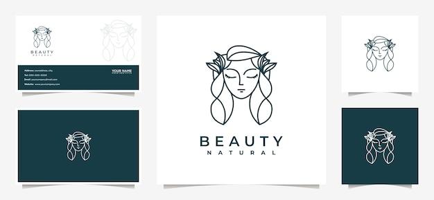 Inspiração no design de logotipo de mulheres de beleza com cartão de visita para cuidados com a pele, salões de beleza e spas,