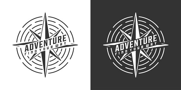 Inspiração no design do logotipo da bússola e aventura vintage