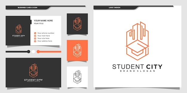 Inspiração no design do logotipo da cidade estudantil minimalista com estilo de arte de linha moderno e exclusivo vektor premium