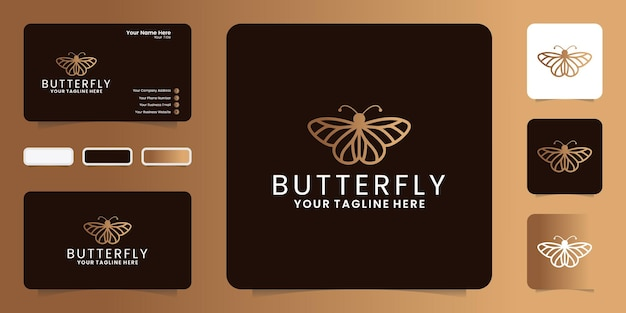 Inspiração no design do logotipo de uma linda borboleta em linha de arte e estilo de cartão de visita