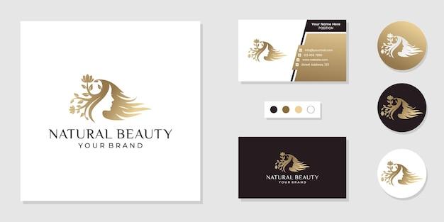 Inspiração para beleza natural feminina, spa, logotipo do salão de beleza e modelo de design de cartão de visita